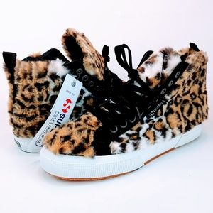 NEW Superga Leopard Faux Fur High Top Sneakers
